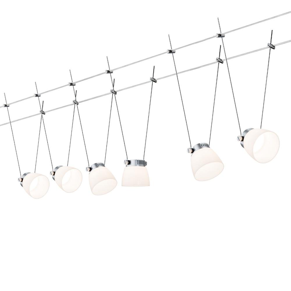 Paulmann LED Komplett-Seilsystem Wire Systems Set Ice LED II Chrom-Weiß 941.15 | Lampen > Strahler und Systeme > Seilsysteme | Chrom - Weiß | Paulmann
