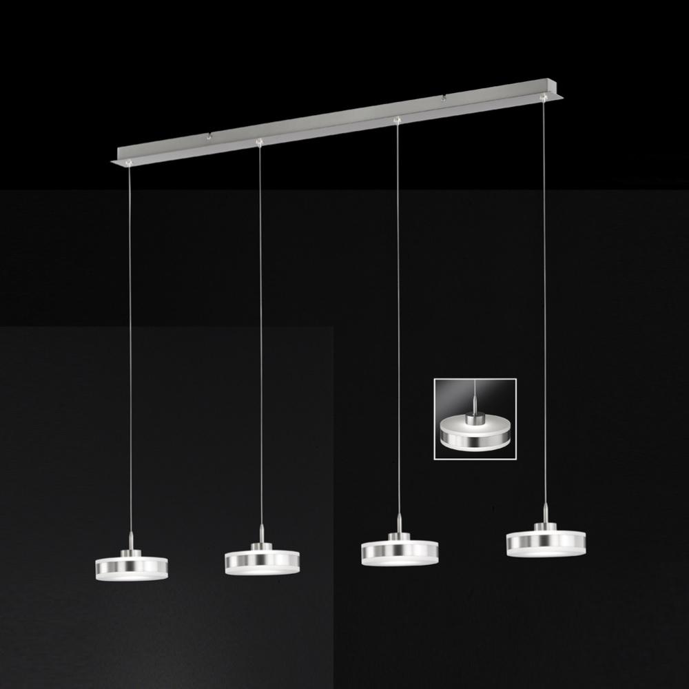 LED Pendelleuchte Acrylglas weiß, Metall silber, modern 4-flammig, rund, 94cm lang, LED warmweiß