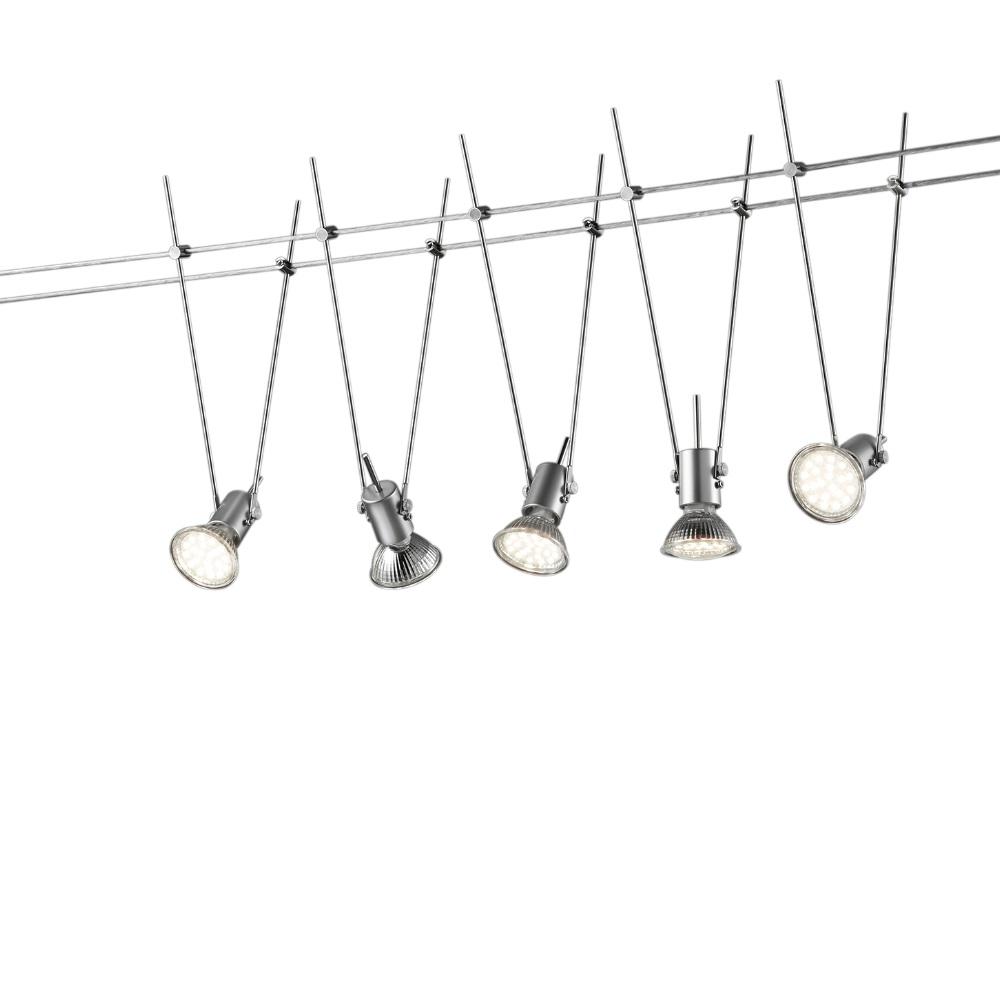 Trio LED Seilsystem mit 5 Spots titanfarbig 770010587 | Lampen > Strahler und Systeme > Seilsysteme | Trio