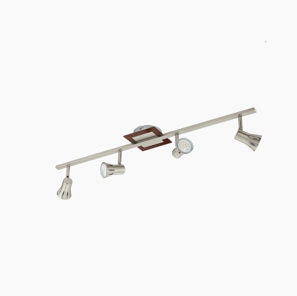 LED Strahlerbalken 4flammig Nickel Holz, 4 x GU10 3W, 78cm