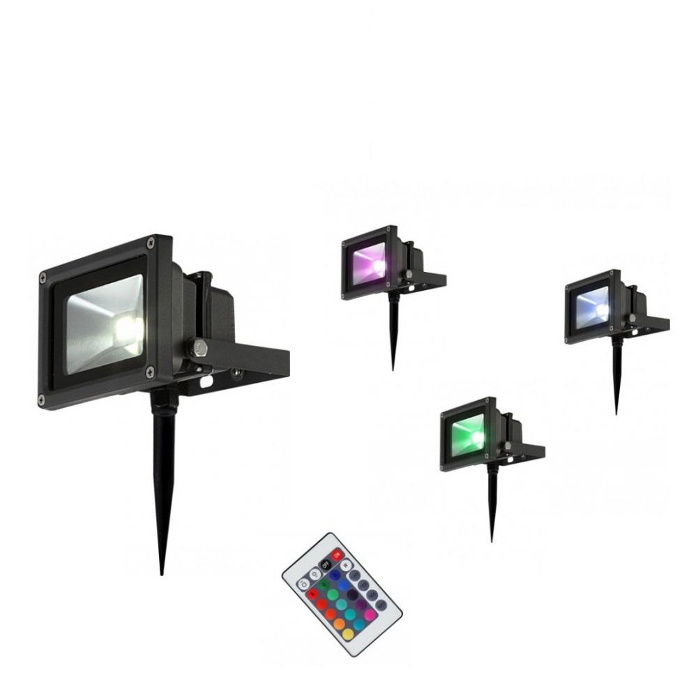 LED Strahler, Gartenbeleuchtung, mit Erdspieß, schwarz, Fernbedienung