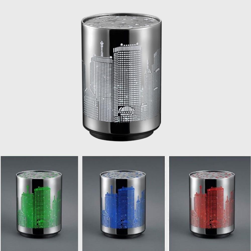 LED Tischleuchte Nachtlicht mit Skyline - RGB Farbwechsel - Batteriebetrieben - Ø 8cm