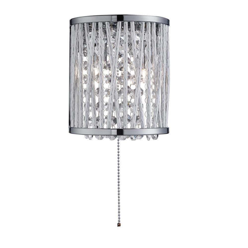 LED Wandleuchte Elise aus Chrom und Kristallbehang