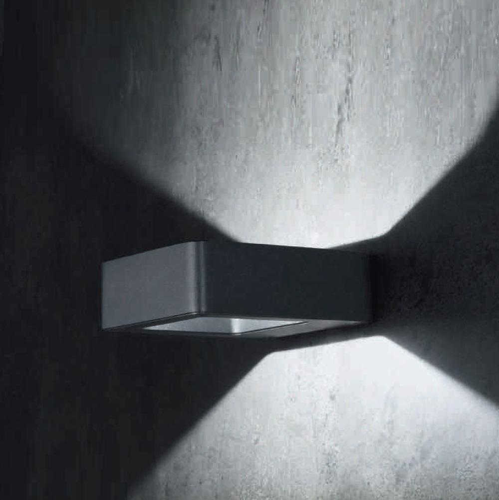LED-Außenwandleuchte Arena eckig, weiß