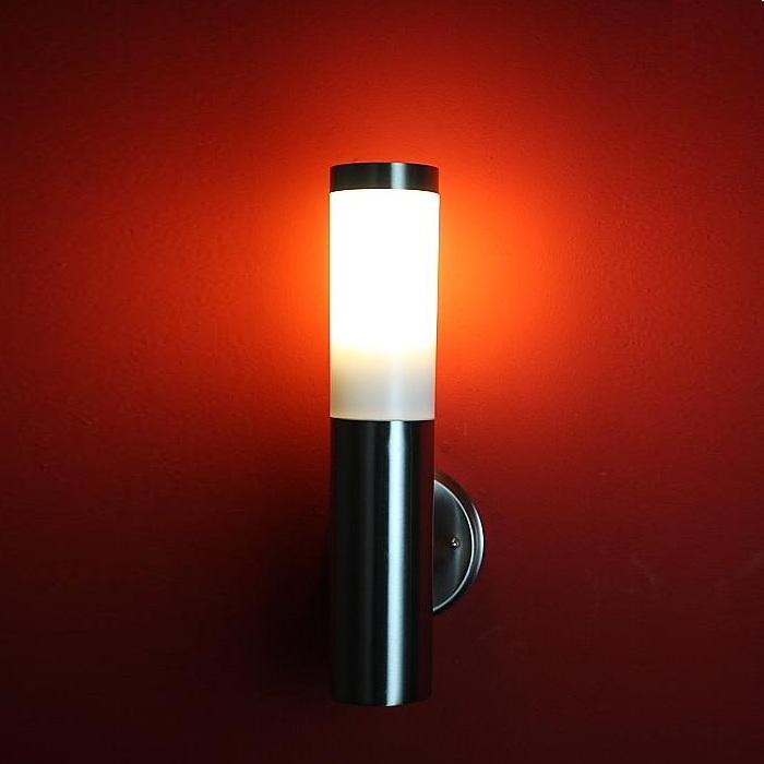 LHG LED-Außenwandleuchte, Edelstahl, modern, 14,4cm hoch