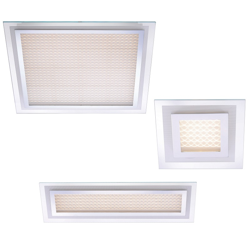 LED-Deckenleuchte in Chrom inklusive LED-Board 3x 4,34W - 1500lm insgesamt - 44cm x 22cm