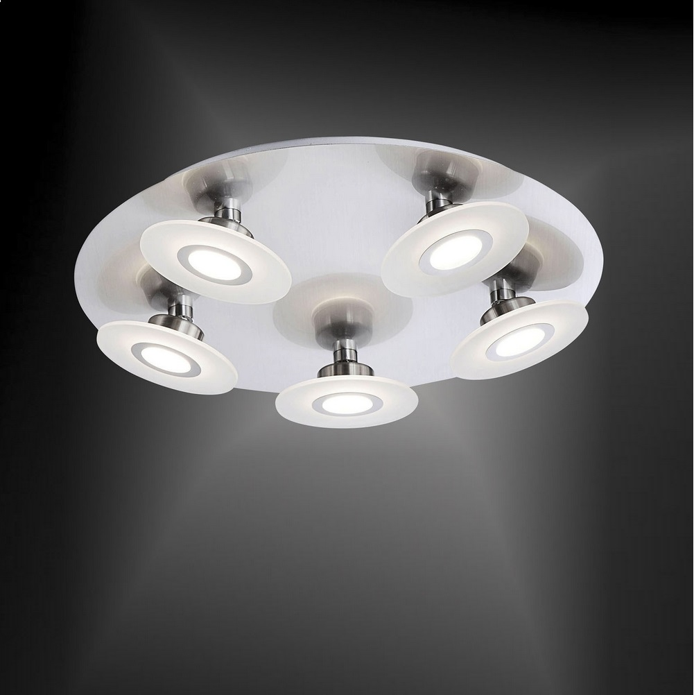 LED-Deckenleuchte Nickel / Glas - 5 x 5,5Watt LED