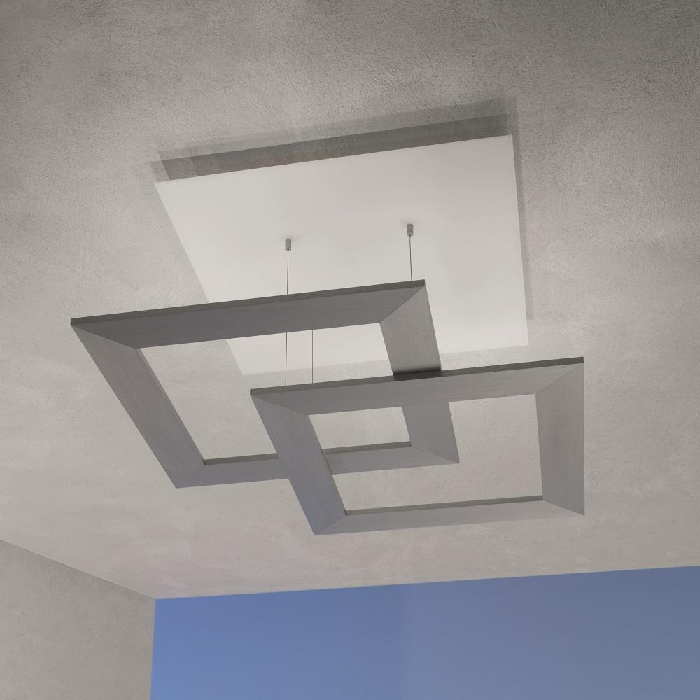 LED-Deckenleuchte Zen Aluminium geschliffen, 80 x 80 cm