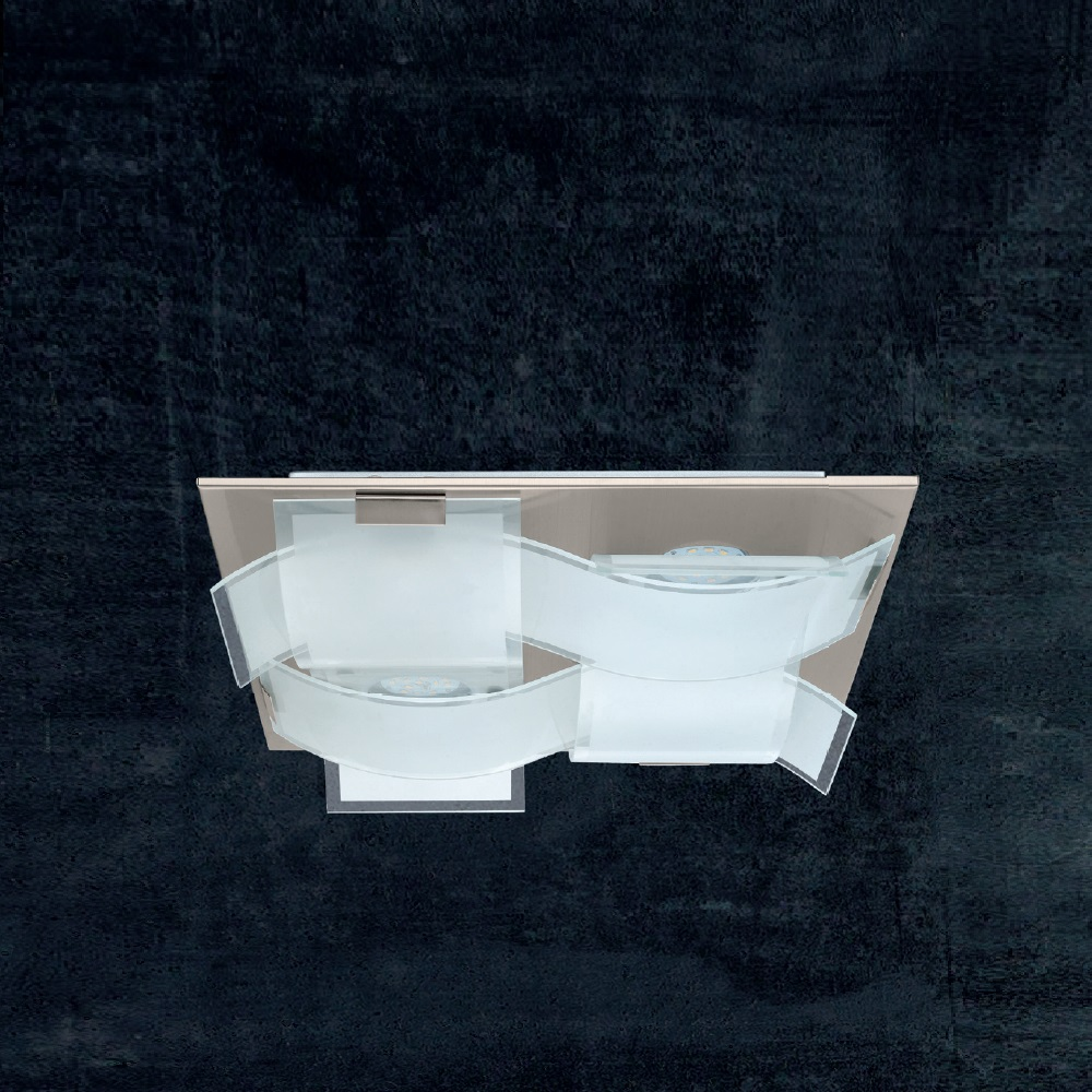 LED-Deckenleuchte, 40 x 40 cm, Glas geschwungen