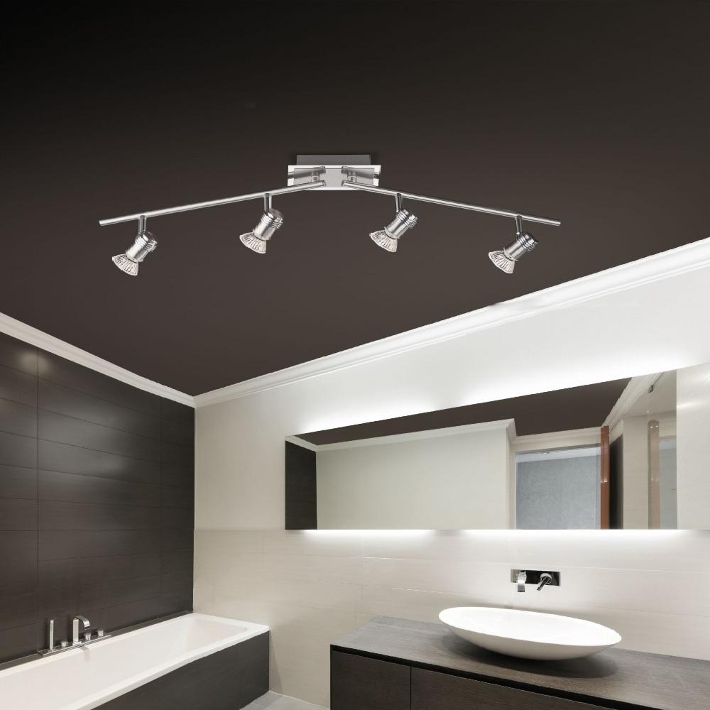 LED- Deckenstrahler aus Stahl - IP44 - inklusive 4x 3W GU10 LED- Leuchtmittel