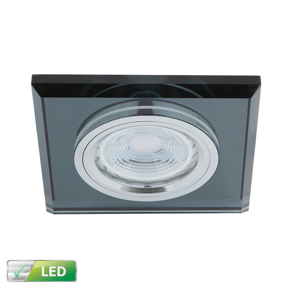 LHG LED-Einbaustrahler Glasrahmen Eckig Schwarz, LED 1x GU10 5W 107223   Lampen > Strahler und Systeme > Einbaustrahler   Schwarz   LHG