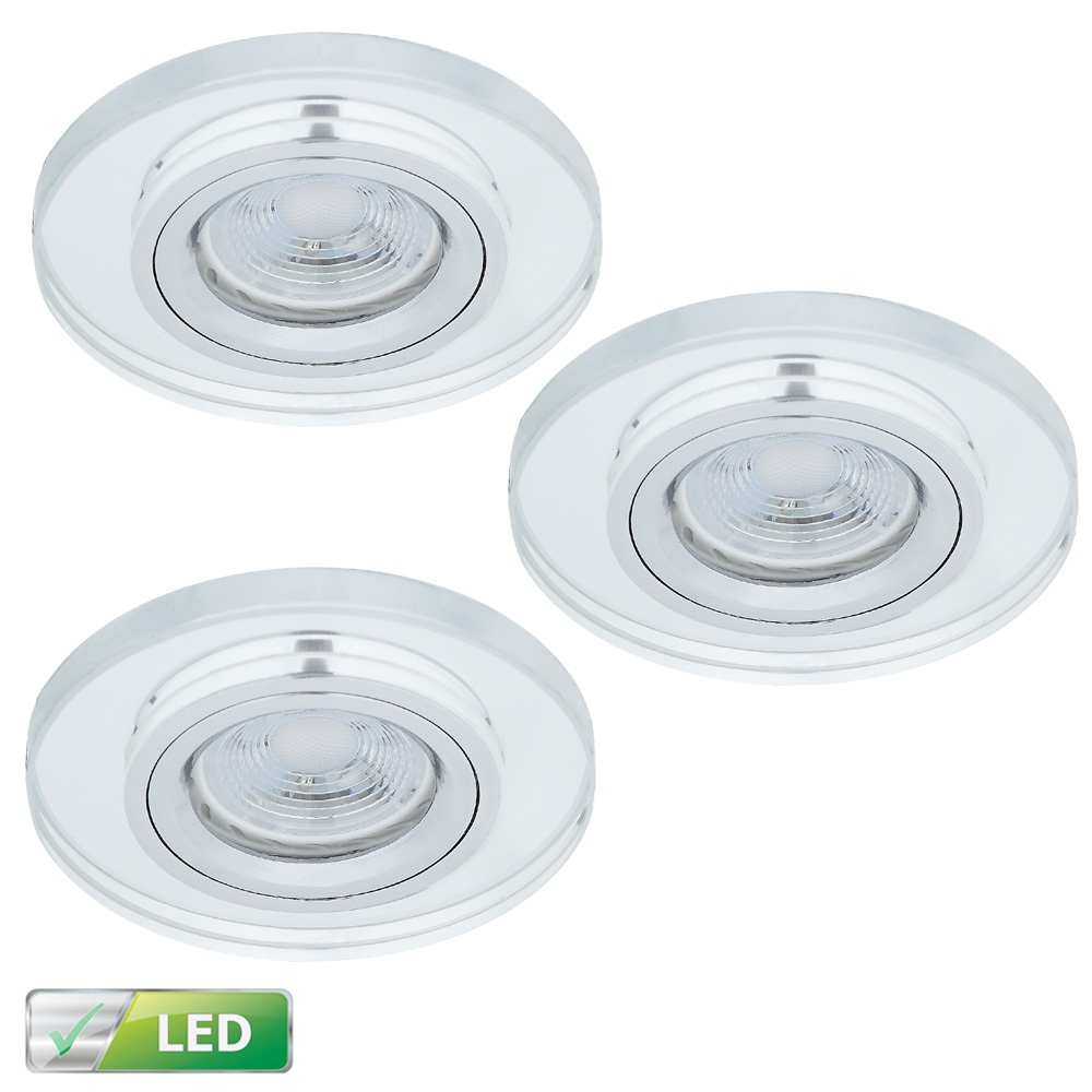 LED-Einbaustrahler mit Glas rund, 3er Set LEDGU10 5W