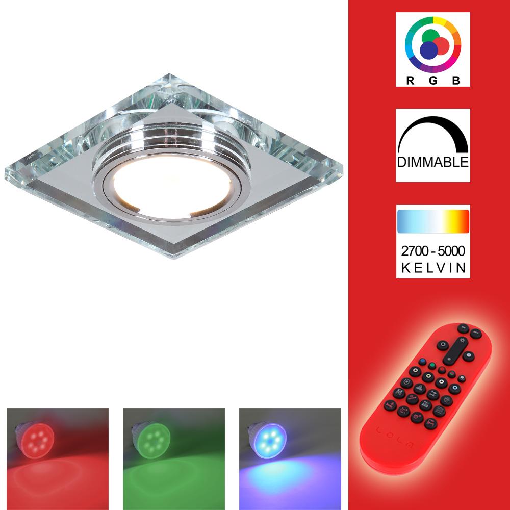 LHG LED-Einbaustrahler mit Glasrahmen - Eckig - Silber inkl. Fernbedienung 129724   Lampen > Strahler und Systeme > Einbaustrahler   Blau - Weiß   LHG