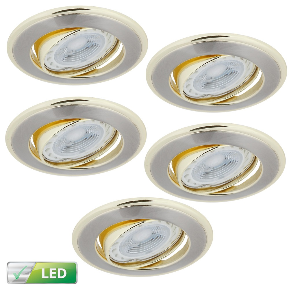 LHG LED-Einbaustrahler, rund, Nickel satin, gold, inkl.GU10 5W, 5er-Set