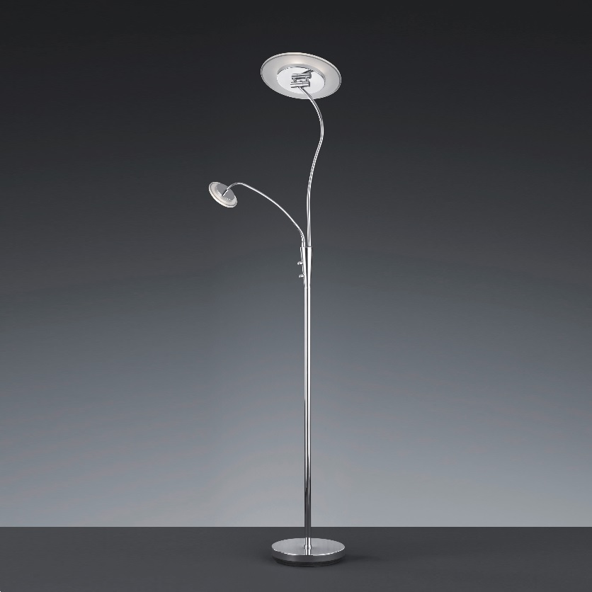 LED-Fluter in chrom und satiniertem Glas - inklusive LED-Leselicht