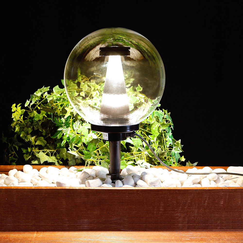 LHG LED-Kugelleuchte transparent IP44, 30 cm mit Erdspiess