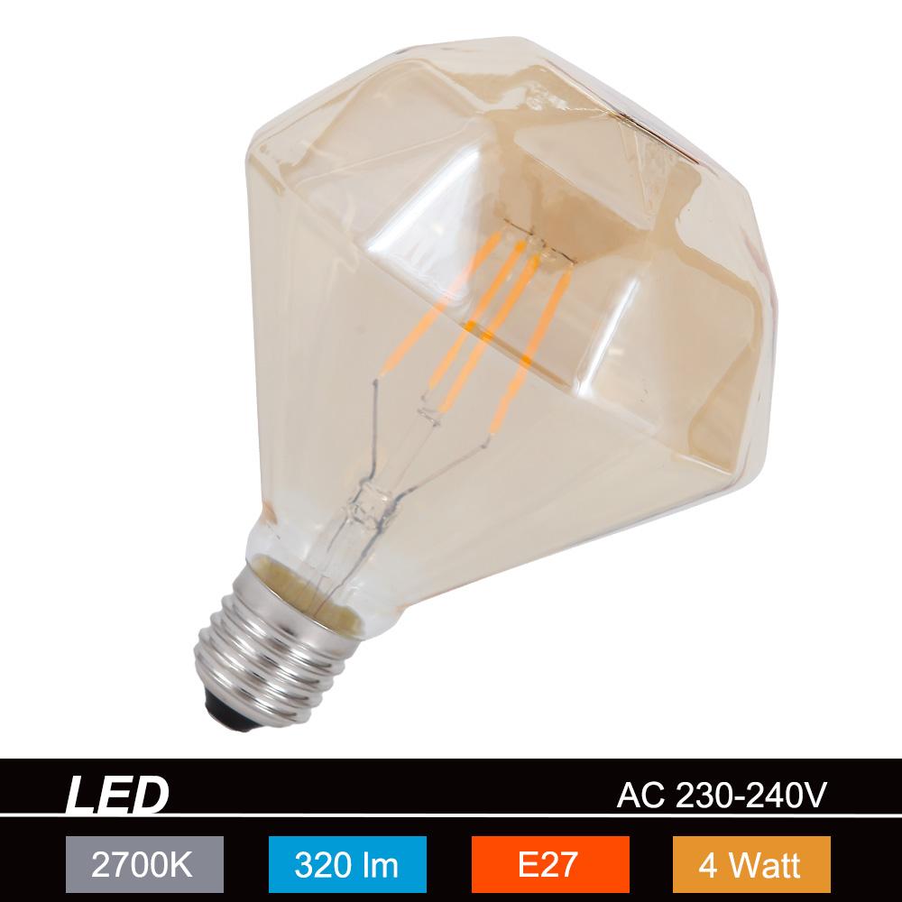 Trio LED-Leuchtmittel E27 4W, braun-getönt, Ø 1...