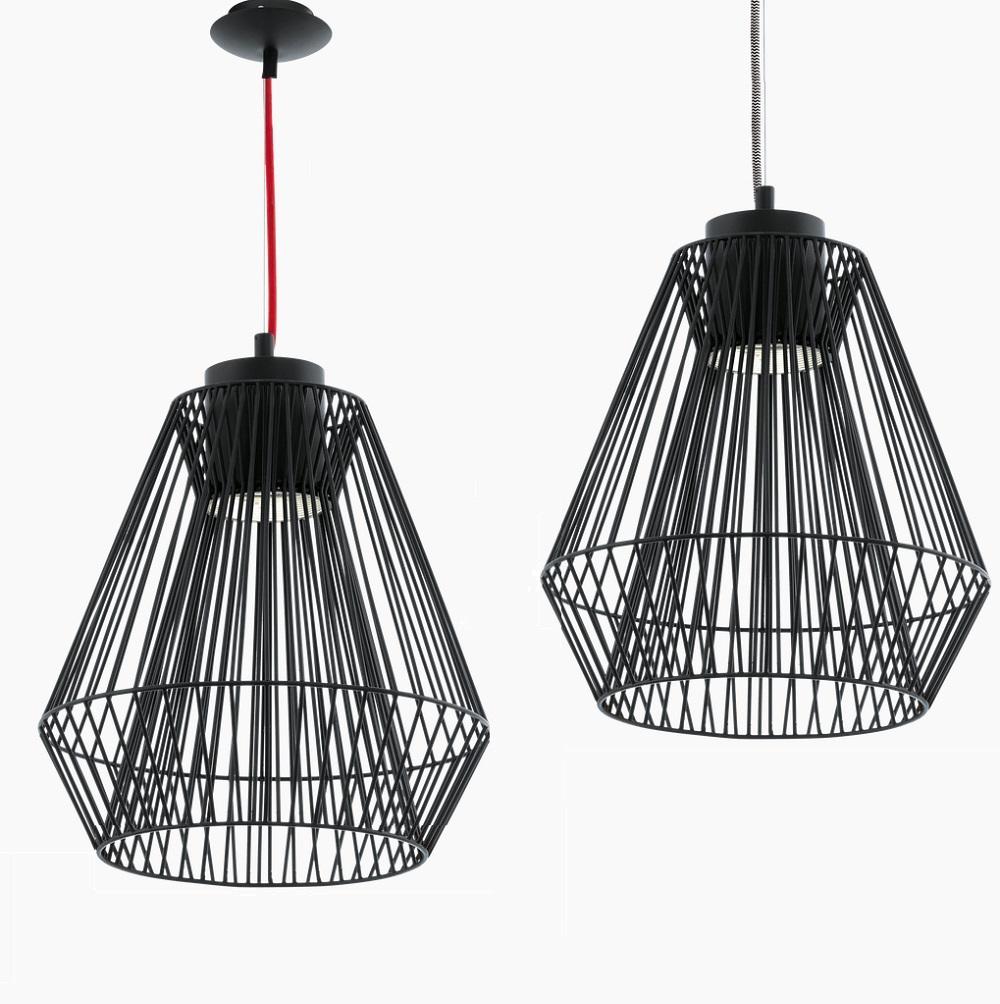 LED-Pendelleuchte Ø30cm in schwarz, Kabel in 2 Farben