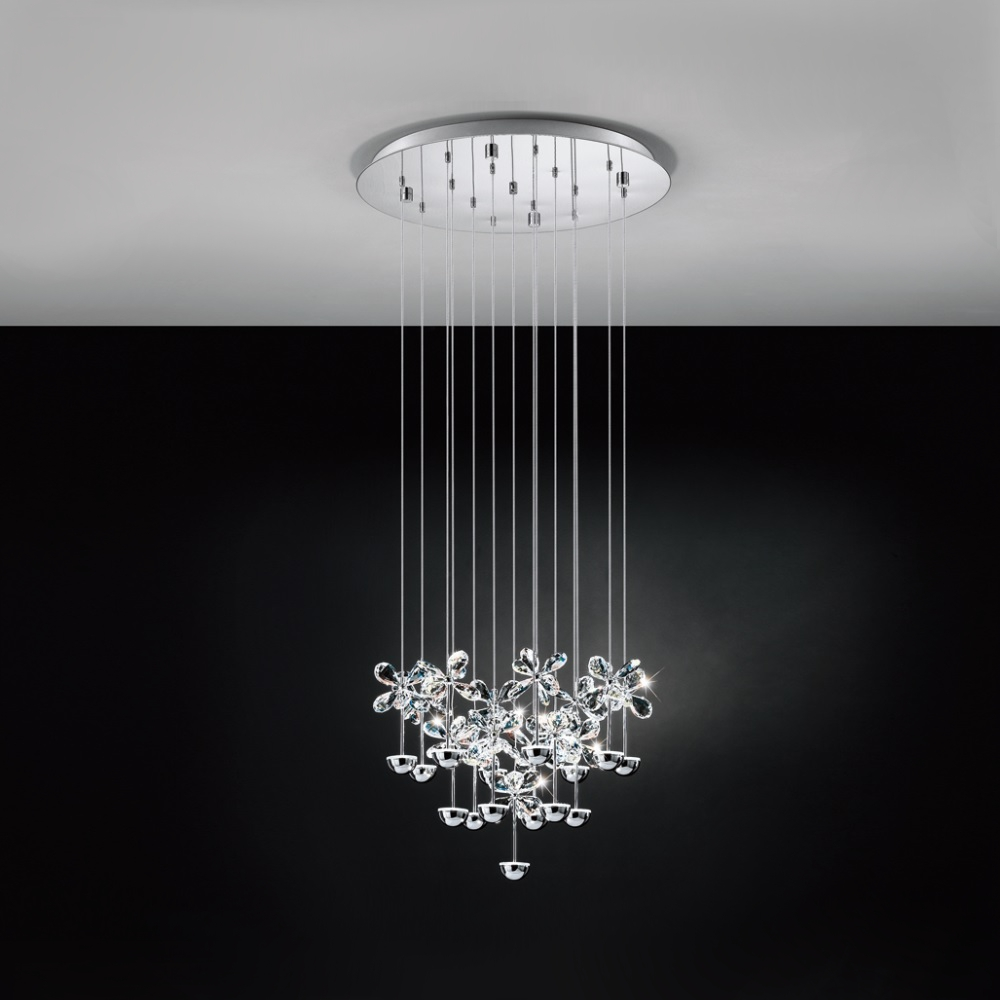 LED-Pendelleuchte Ø50cm, Blüten, 15-flammig