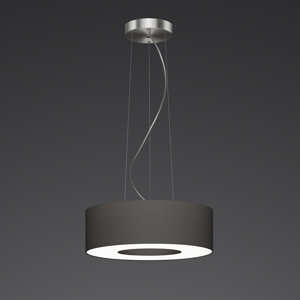 LED-Pendelleuchte Donut mit Schirm taupe in 3 Größen