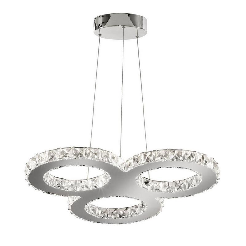 LED-Pendelleuchte, 3 Chrom-Ringe mit Kristallglas, LED 27 Watt