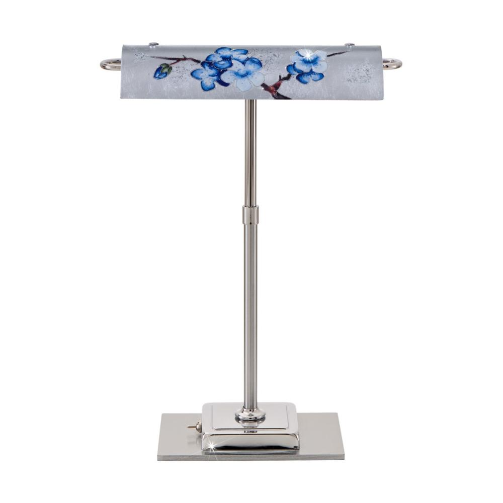 LED-Schreibtischleuchte Bankers, Dekor Primavera Silver, Chrom