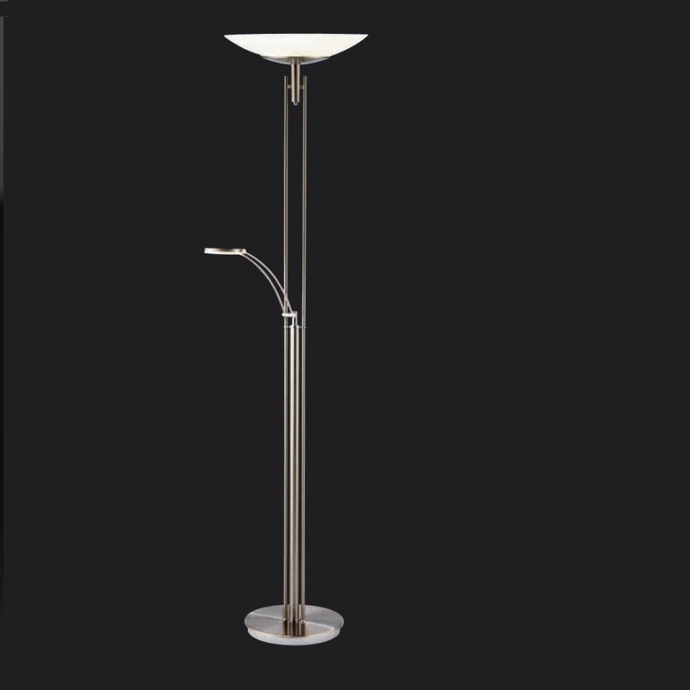 LED-Standfluter mit Leselicht und 2 x Touchdimmer in Nickel matt