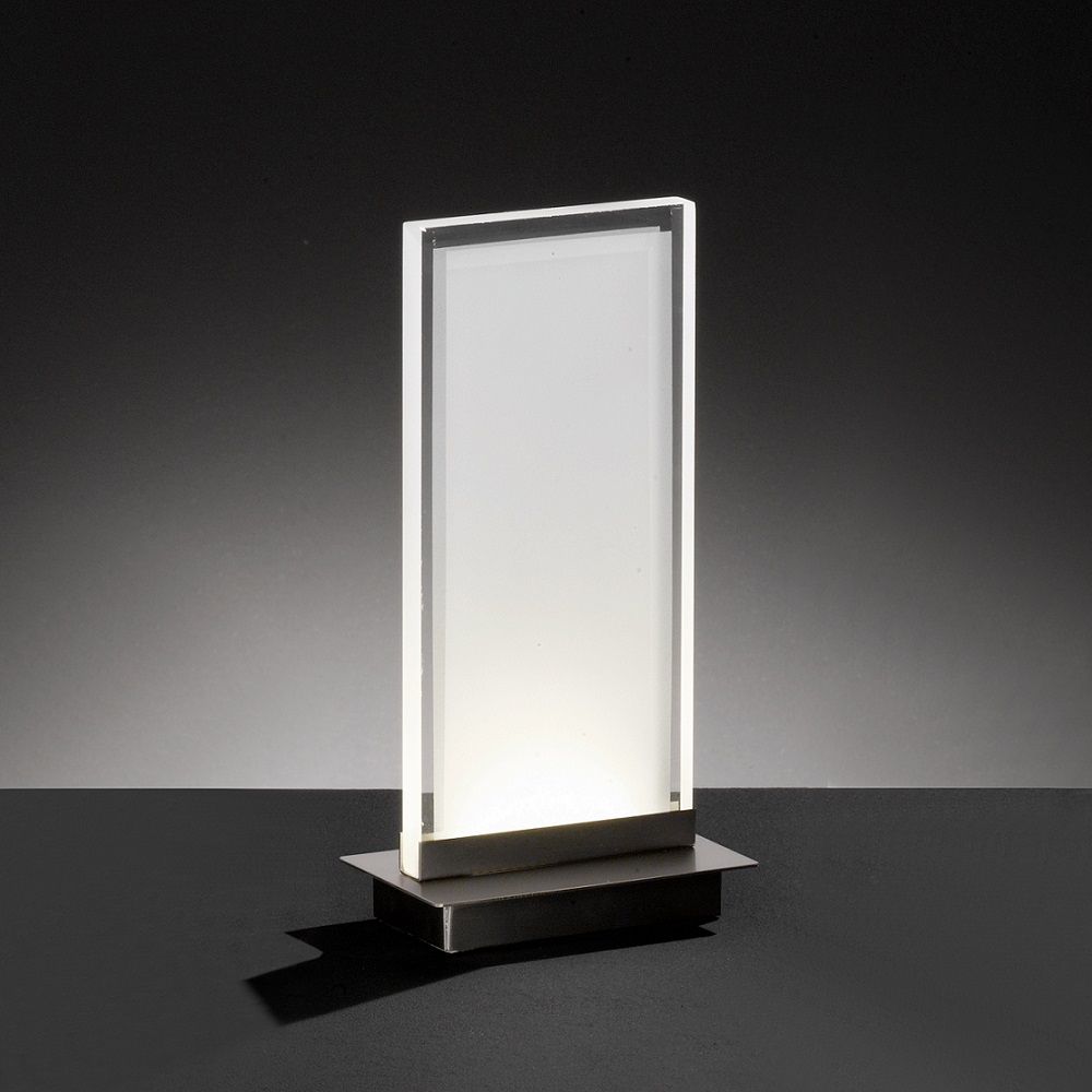 LED-Tischleuchte, eckig, Nickel-matt, Acrylglas, warmweiß