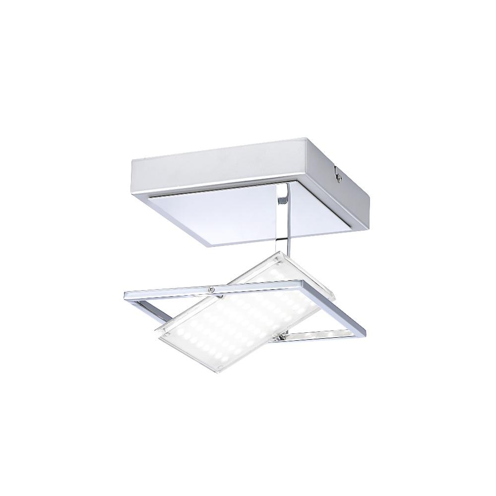 LED- Wandleuchte aus Chrom - 30° schwenkbar - 18 x 18 cm