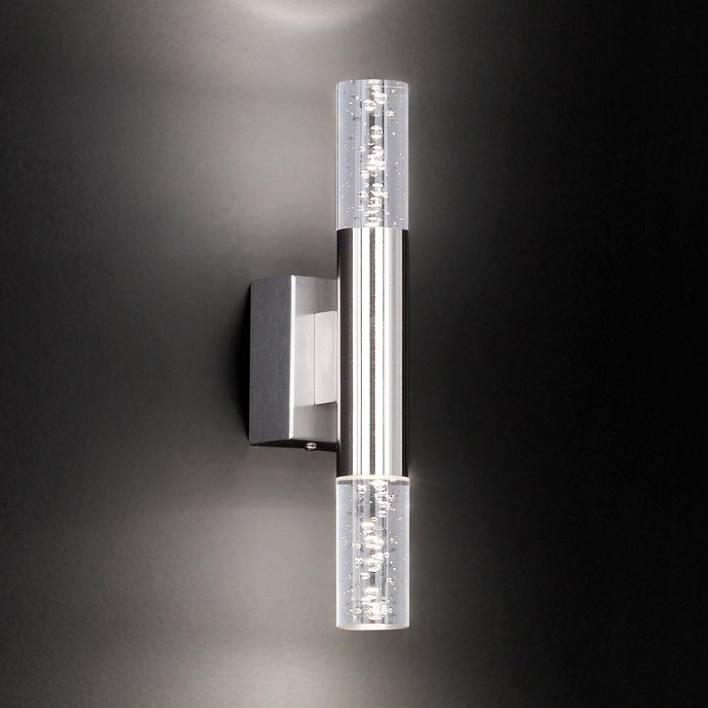 LED-Wandleuchte Badezimmer, Blasenglas Acyrlglas Blasen, Metall Nickel-matt, modern, warmweiß