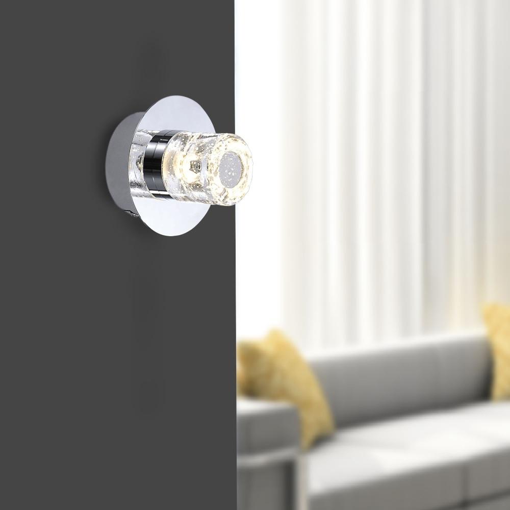 LED-Wandleuchte in Chrom - IP44 - 1x 6W LED
