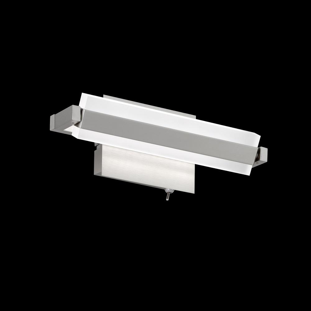 LED-Wandleuchte, Metall Nickelmatt, drehbar schwenkbar, 25 cm lang