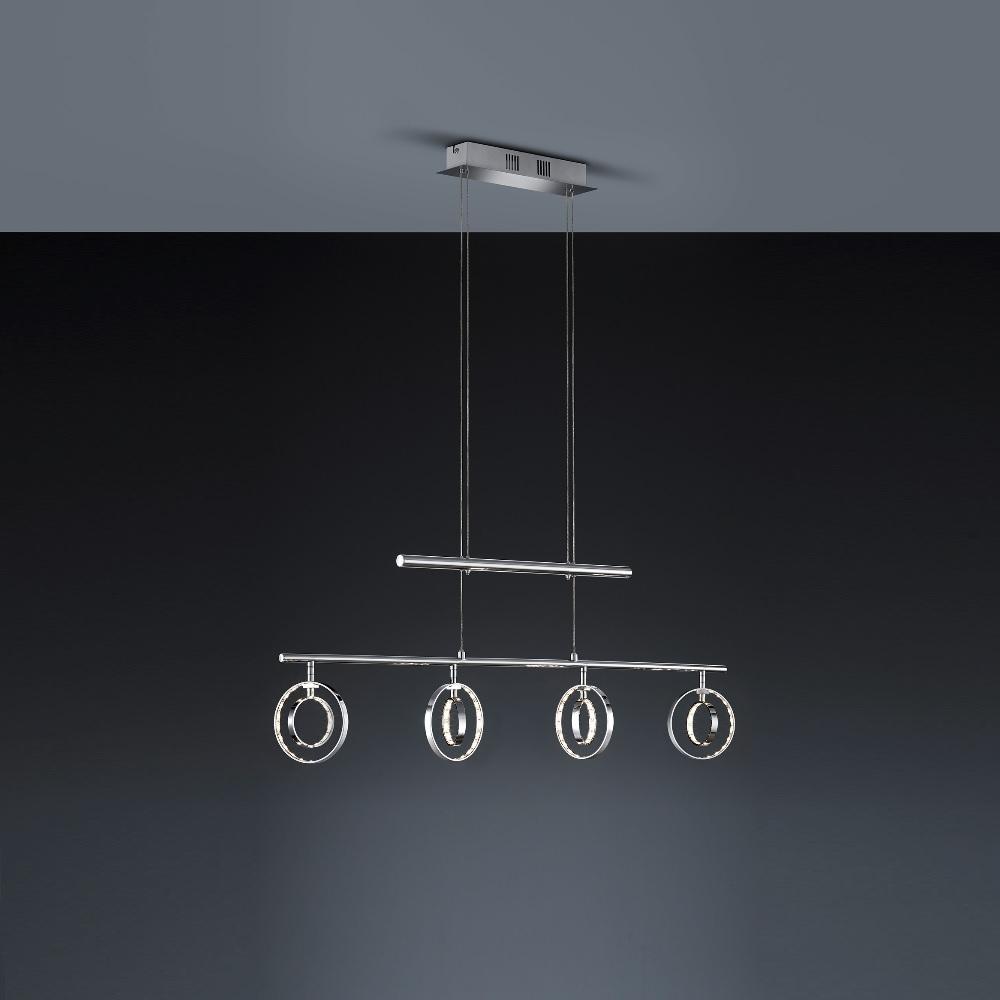 LED-Zugpendelleuchte Prater Chrom - 4 x 4 Watt LED