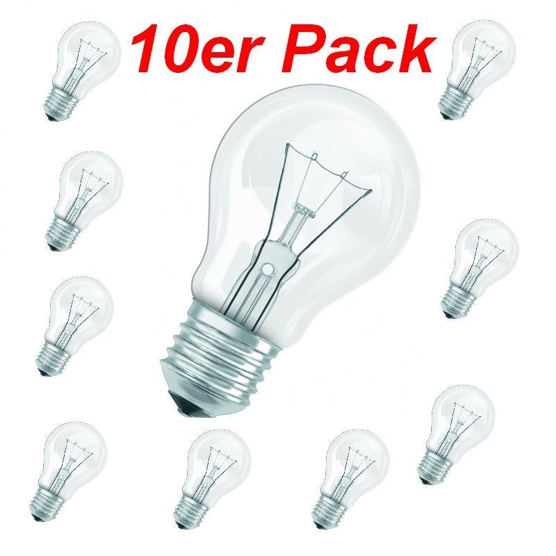 LHG Leuchtmittel E27 60W klar, A60 im 10er Pack