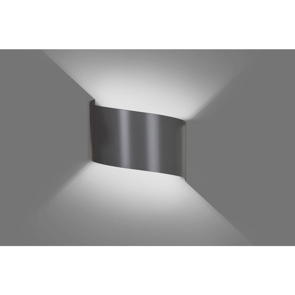 LHG Up & Downlight geschwungen, halbrund Wandleuchte Ida grau, modern, Licht nach oben & unten, inkl. 5W LED