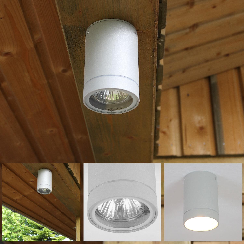 LHG Deckenleuchte Außen, Downlight, Aluminium, grau, inkl. GU10 30W