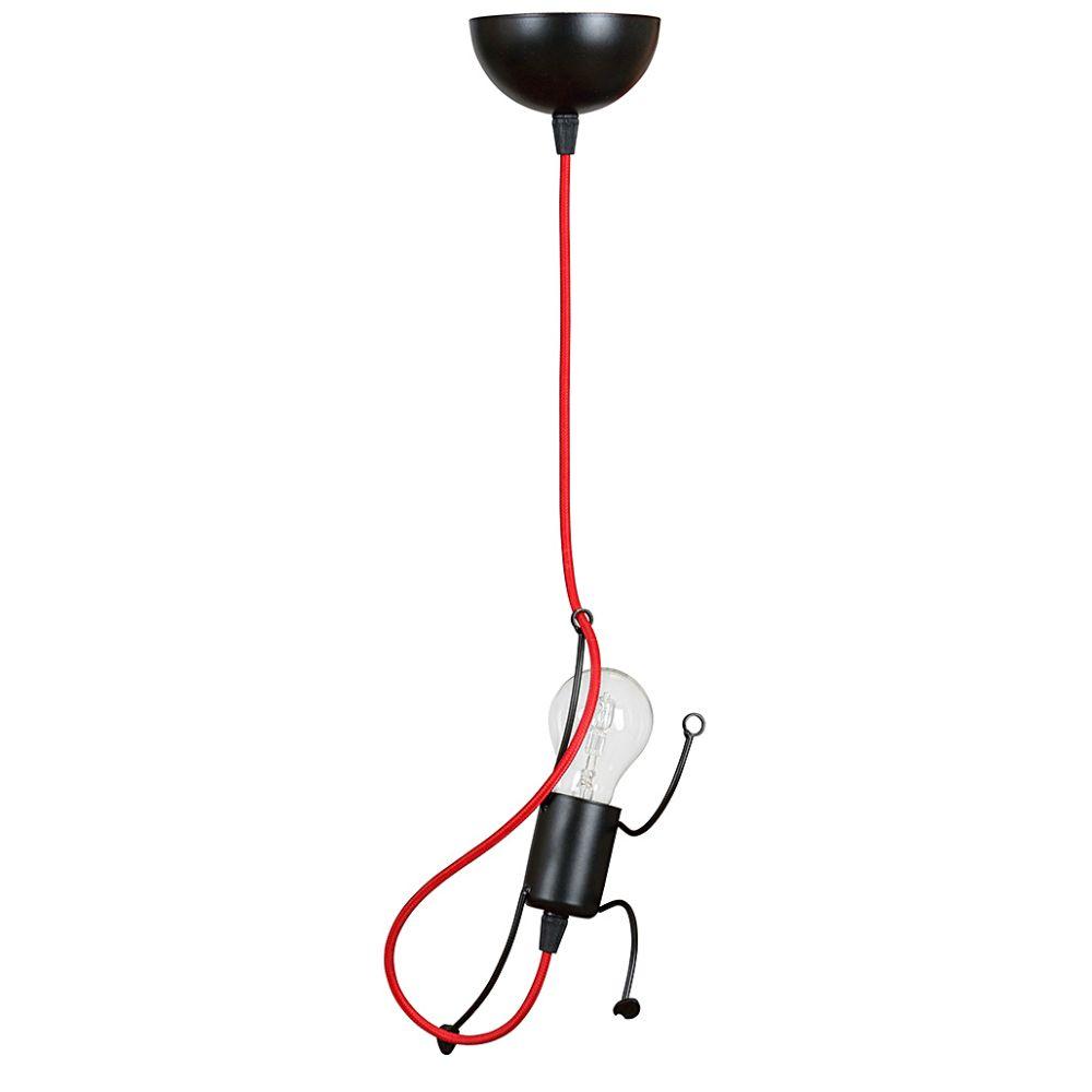 LHG Glühlampen Männchen Kinder-Pendelleuchte schwarz / rot Kinderlampe, modern, inkl. LED E27 4,5W