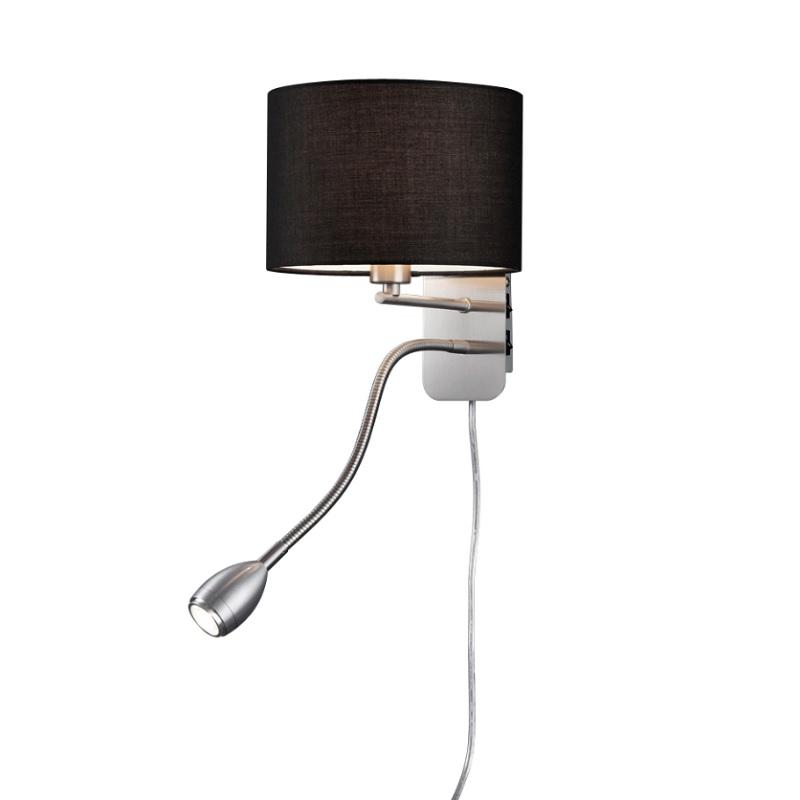 LHG Wandleuchte Hotel mit LED-Leselicht, Schirm schwarz