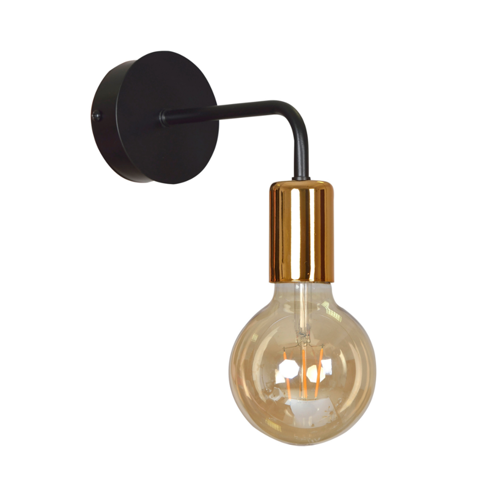LHG Wandleuchte, schwarz kupfer, skandinavisch, inkl. LED E27 2 W