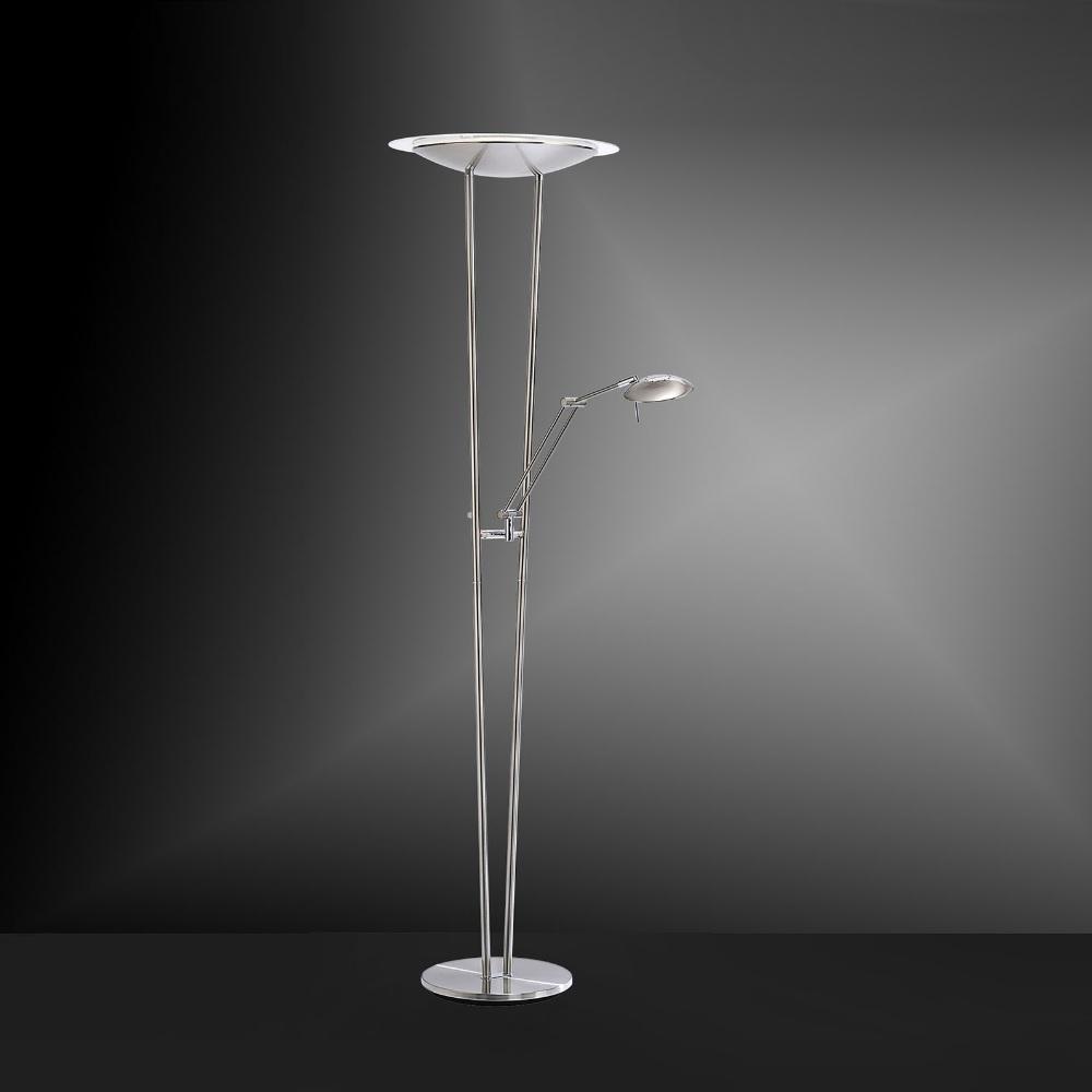 Lichtstarker LED-Standfluter mit Tastdimmer aus Stahl mit Leselicht - inkl. LED 1x 44W und 1x 7,5W