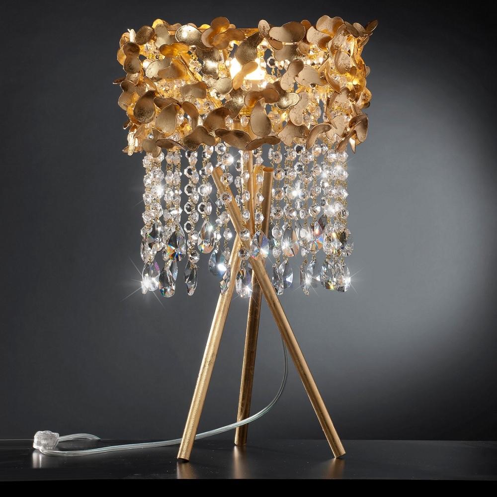 Luxuriöse Tischleuchte als Dreibein - Blattgold - Kristallbehang - Tripod