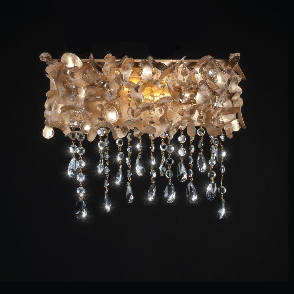 Luxuriöse Wandleuchte - Blattgold - Weiß patiniert - Kristallbehang