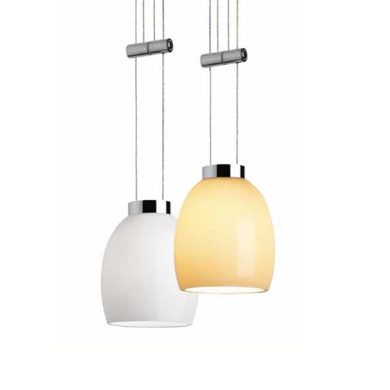 Magnetline Zugpendel mit Glas in weiß oder amber und Adapter in silber matt oder chrom-schwarz