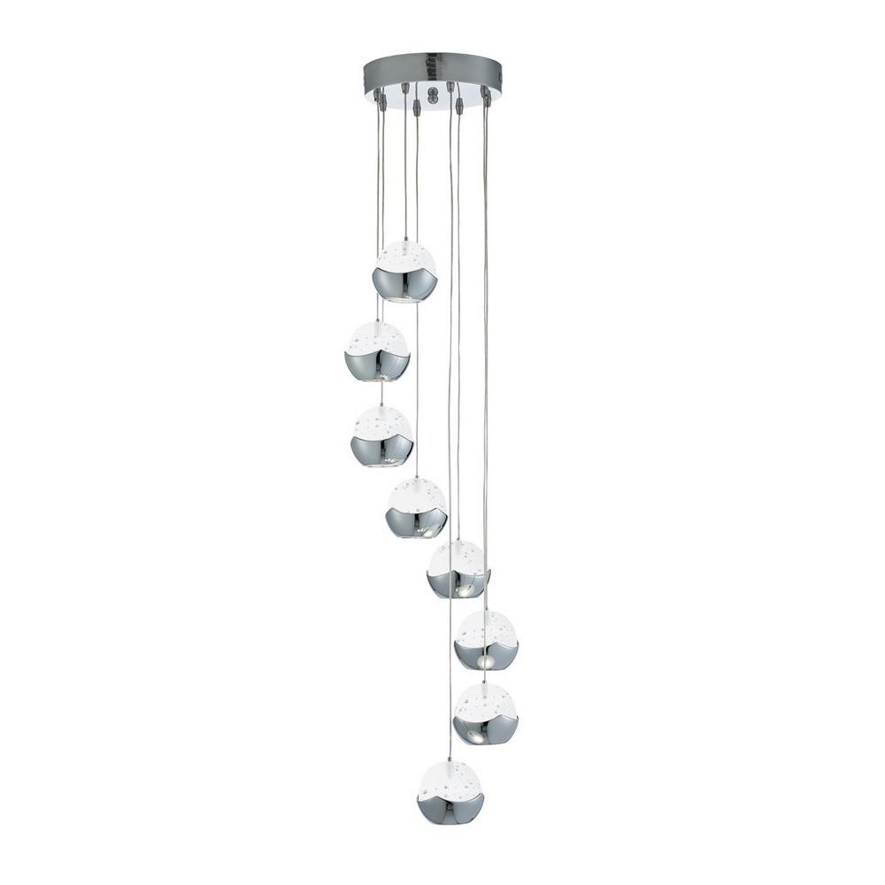Moderne LED Pendelleuchte - Chrom - Glas gefrostet - 8-flammig