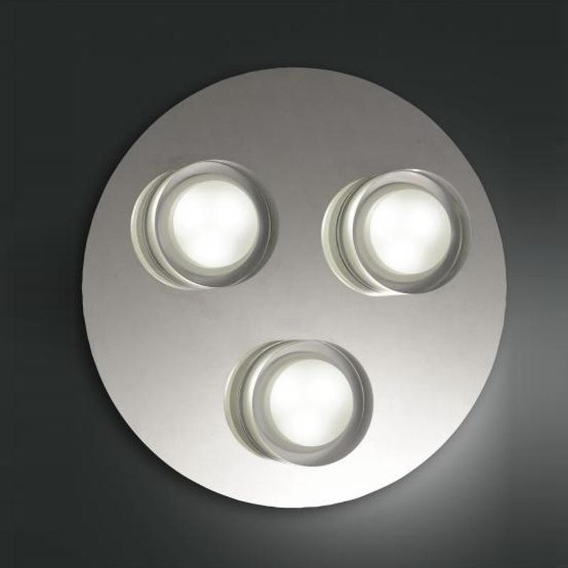 Moderne LED-Deckenleuchte Chrom, 3-flg, rund 25 cm