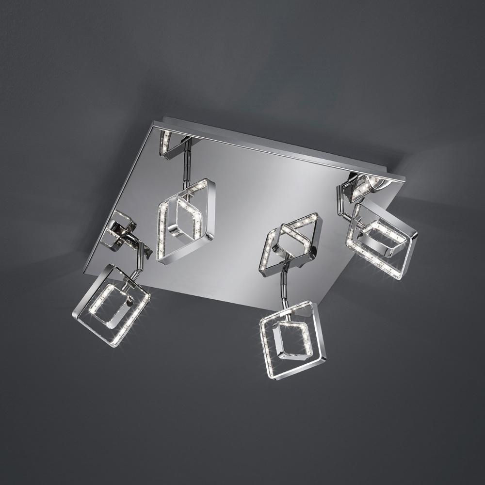 Moderne LED- Deckenleuchte mit eckigen Leuchtschirmen - Chrom - inklusive 4x 4,5 Watt LED
