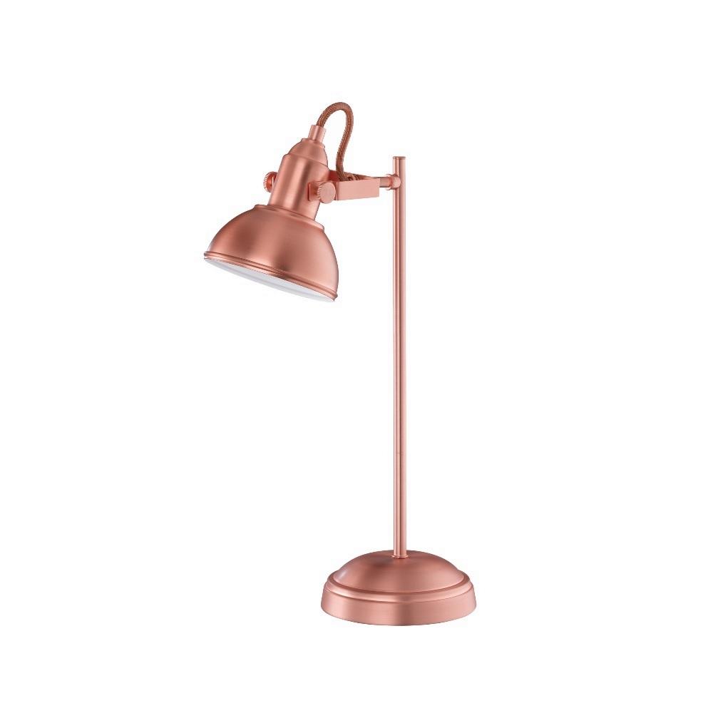 Moderne 1 flammige Tischleuchte aus Metall - lackiert - kupferfarbig