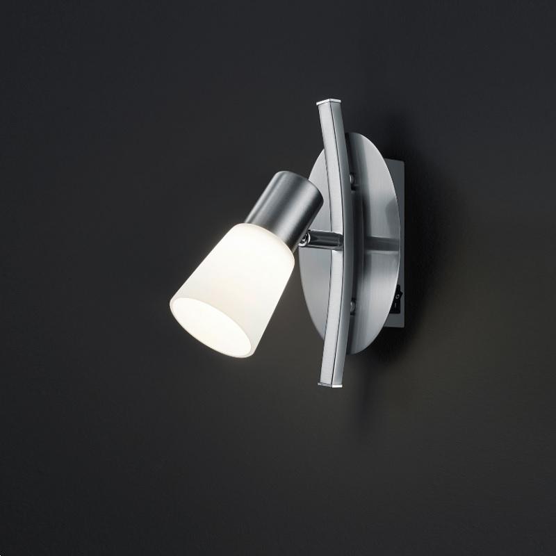 Moderner 1-flammiger Wandstrahler in Nickel-matt mit Opalglas - inklusive LED-Leuchtmittel 1x 4,5 Watt + Extra 1x GU10 LED Leuchtmittel zur freien Nutzung