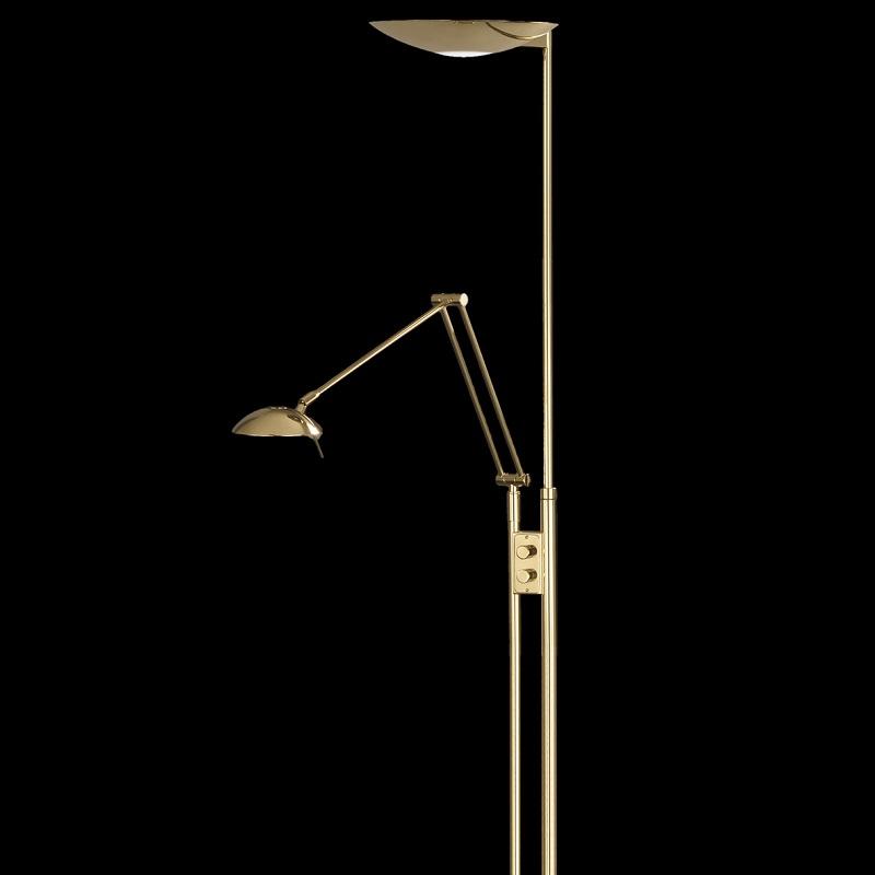 GKS Knapstein Moderner Deckenfluter mit Lesearm - höhenverstellbar - in Messing poliert/matt messingfarbig, Messing-poliert/Messing-matt 41.884.02 | Lampen > Stehlampen > Deckenfluter | Matt | Glas - Messing - Poliert | GKS Knapstein