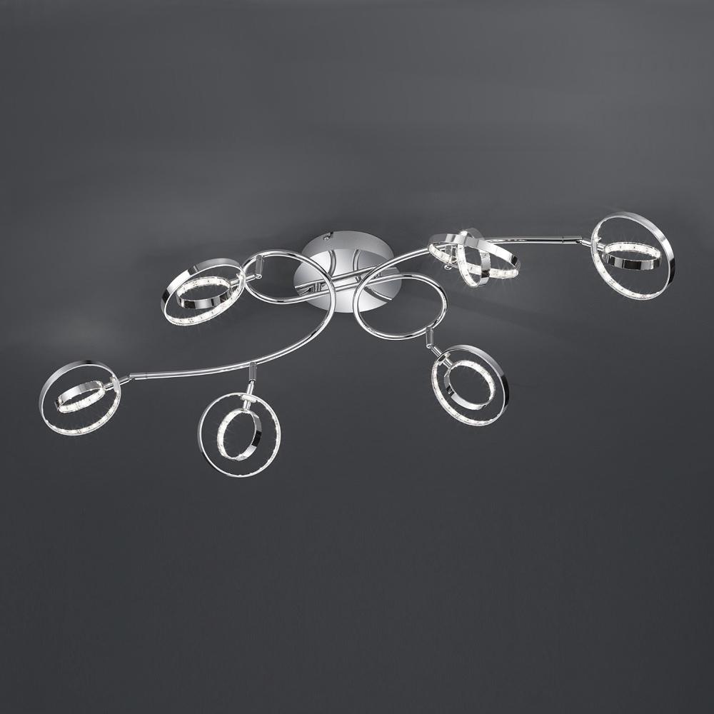 Moderner LED- Deckenstrahler in Chrom - inklusive 6x 4W LED Leuchtmittel - 95 x 55 cm